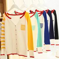 Hot Sale 2014 New Fashion college style Women Cardigan sweater shirt Crochet Knit Top Pocket V-neck sweater WF-458