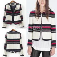 2014 Newest Fashion Autumn Vintage Women 2014 New Elegant Women Colorful Striped Cardigan Jacket Coat Blazer Suits Blouse Tops
