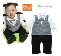 2014 NEW arrive high quality baby thick gentleman romper children clothing autumn gentleman jumpsuit baby  romper baby clothing