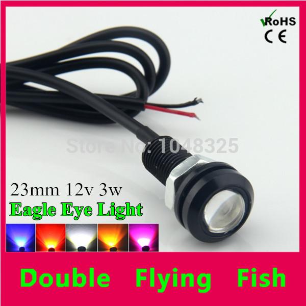 10pcs/lot DIY Car Parking Lights Auto Eagle Eye Led Light 23mm 12V 3W Waterproof Eagle Eye LED Daytime Running Lights 6 Colors(China (Mainland))