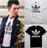 many style 2014 Fashion men elegant shirt with short sleeves t-shirt adida uneven brand men o-neck t shirt men brand AD004