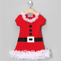 wholesale 5pcs/lot gril's clothes short sleeve red lace dress christmas baby clothes ,christmas dress