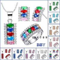 Wholesale - Free shipping 925 silver plated with 18K gold candy color gem suit necklace earrings ring women jewelry sets 2014 ne
