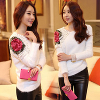 2014 New Fashion Autumn Winter Women Rose Hollow out on Shoulder Pullover Lady Slim Knitting Sweater Cardigan Knitwear WF-461