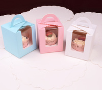 High quality Single server window pudding bottle cupcake box muffin box 3 colors 50pcs  (9.5cm*9.5cm*11cm)