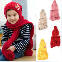 Free shipping 1piece solid color Beanies kids Cap, knitted Hat Scarf Sets, Cute lovey children's handmade Cap Scarf