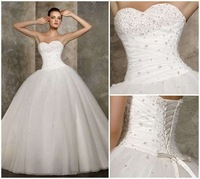 Cheap Price ! 2014 New Free Shipping A Line Sweetheart Beading White / Ivory Wedding Dresses OW 2039 In Stock