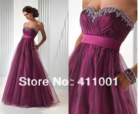Purple Organza Sweetheart Strapless Floor-Length Prom Party Evening Dress Ball Gown Anniversary Dress All Sizes Free Shipping