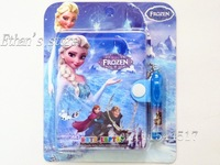 Free Shipping  Frozen Notebooks Notepad With Plastic  Ballpoint Pens With Gift Packing  Mix Color