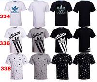 many style 2014 Fashion men elegant shirt with short sleeves t-shirt adida uneven brand men o-neck t shirt men brand AD007