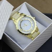 2014 top brand dress steel watches women rhinestone watches men luxury brand quartz bracelet japan movemen ladies watch 2 colors