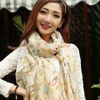 Oumeina DZ fashion accessory woman scarf:VOILE PRINTED Magpie Bird pattern muslim hijab scarf wrap shawl tudung bawal   DZ023