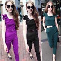 Summer women's 2014 slim sleeveless vest high waist casual trousers set