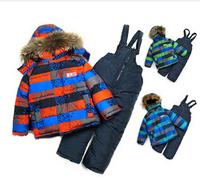 Retail 2-5Y winter ski baby&kids clothing set New 2014 good quality windproof fashion warm 3pcs suit(waterproof coat+vest+pants)
