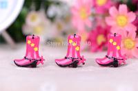 Free Shipping  50PCS/Lots Very Hot and Kawaii  Resin Pink boots  cabochons FOY DIY 25*27mm