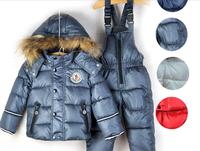 Retail 2-6Y fashion baby&kids ski clothing set New 2014 good quality windproof winter warm 2pcs suits(waterproof coat+pants)
