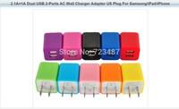 Wholesales 500pcs/lot  2.1A+1A Dual USB 2-Ports AC Wall Charger Adapter US Plug free shipping
