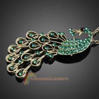 R1B1 Vintage Green Rhinestones Studded Peacock Pattern Pendant Necklace