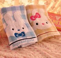 2PCS Plaid Bunny double gauze towel towel towel wholesale cute cartoon couple cotton 34*76cm