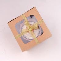 Single kraft window cupcake box muffin box with insert ( 100pcs) 11.5cm*11.5cm*7.5cm