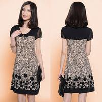2014 plus size clothing sweet chiffon dress silk one-piece dress Plus Size dress