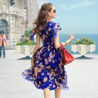 Prase women's 2014 summer print ruffle sleeve chiffon  one-piece dress vintage fashion cool beautiful new European style