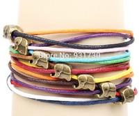 New Fashion Lucky Bronze Elephant Friendship Bracelet Handmade Multilayer Boho Cord Charm