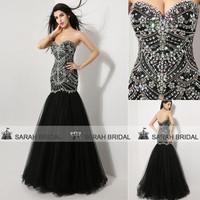 In Stock XU009 Crystal long evening dresses women 2014 Black Mermaid Party Dress Luxury Tulle Long Evening Dresses 2014