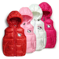 Wholesale New 2014 children's winter Outerwear Coats Hello Kitty Girl's vest hooded vest windbreaker Jacket 100% cotton vest
