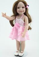 Fashion 18'' Vinyl American Dolls Kids Hobbies Realistic Girls Baby Toys Long Hair Lifelike Reborn Girl Limited Collection