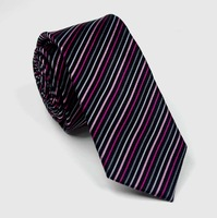 Slim Black Men's Neckties 100% Mircofiber Stripped Multicolor Design Top Quality Father Gifts Male Accessory
