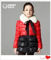 2014 Princess fitted jacket children jacket girls in long down jacket dress clothing set children's clothing
