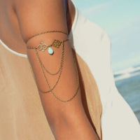 2014 New Women's Jewelry Accessories Sexy Arm Chain Water Drop Pearl Necklace Tassels Bracelets Body Chain