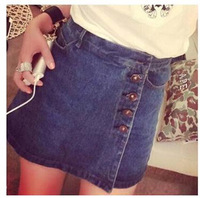 2014 New Exclusive Custom American Casual Style High Waist Rough Feeling Outside Buckle Waist Denim Skirt Free Shipping