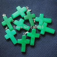 50 Pieces/Lot,Green Jade Stone Pendant,Size: 18x25mm,Cross Shape