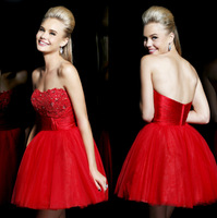 2014 New Arrival A-line Strapless Short Mini Red Tulle Satin Backless Homecoming Dresses Cocktail Dresses