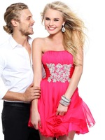 2014 New Arrival A-line Strapless Short Mini Mint Fuchsia Chiffon Beaded Homecoming Dresses Cocktail Dresses