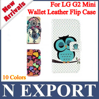 1PC Newest Owl Bird love Heart Flower Giraffe Wallet PU Leather Flip Cover Case with Card Holder Slots for LG G2 MINI [LL-20]