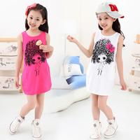 2014 Korean summer girls' cotton vest dress new summer wear cotton dress children dress