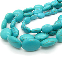 Fashion Jewelry Mix Size  Synthetic Flat Oval Blue Howlite Turquoise Stone African Loose Beads for Necklace&Bracelet HC075