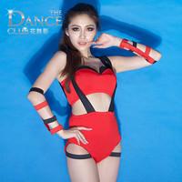 Fashion Sexy Female Singer Red patchwork jumpsuits bodysuit Jazz dance costume clothes nightclub wear