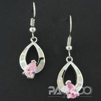 Pink Topaz  White Fire Opal Silver  Fashion Jewelry Women Dangle Earrings  OE191BC  Wholesale & Retail