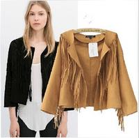 [B-1534] Free shipping 2014 Autumn new Suede jacket women casual full tassel jacket solid slim jacket