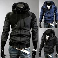 Free shipping 2014 New Fashion Man Casual Slim with a hood sweatshirt, Men's double zipper color block splicing jacket coat