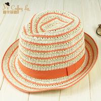 Our summer sunshade hats wholesale straw hand woven stripe Jazz Topper travel sun cap 68
