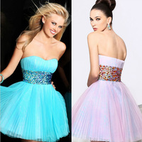 2014 New Arrival A-line Sweetheart Short Mini Turquoise Tulle Crystals Homecoming Dresses Cocktail Dresses
