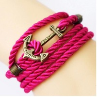 2014 New Design Vintage Classic Popular 6 colors Braided rope Vintage metal anchor bracelet&Bangles for women Wholesales PT36