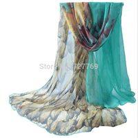 Super fine quality summer sunblock  numeral printing large long silk scarf women beach towel scarves bonita bufanda