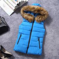 Free shipping New winter hooded fur collar Korean down cotton outerwear warm short WAISTCOAT DRESS fashion keep warm sale vest