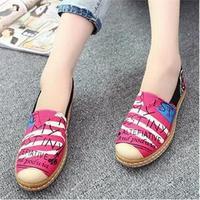 2014 New Casual british style Flat Non-slip Women Shoes vintage Comfort cotton prints shoes For Women